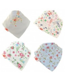 Zippy Baby Girl Bandana Dribble Bib - Delicate Blues 4 Pack