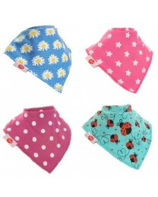 Zippy Baby Bandana Dribble Bib - Funky Brights 4 Pack