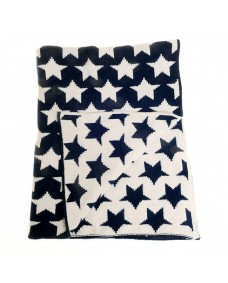 Baby Blanket in Navy Blue and White Stars for Cot and Pram