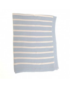 Baby Blanket in Blue and White Stripes for Cot and Pram
