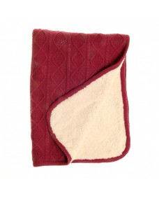 Raspberry Pink Sherpa Fleece Cable Knit Blanket for Cot & Pram
