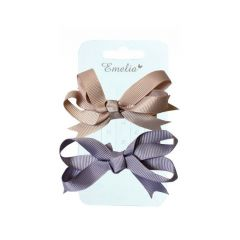 2 Pack Ribbon Bow Hair Slides - Stone and Mauve