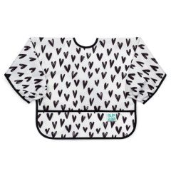 Bumkins Sleeved Bib - Hearts Monochrome
