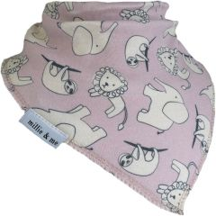 Jungle on Mauve Bandana Bib