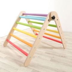 Rainbow Wee'UN pikler inspired triangle folding climbing frame
