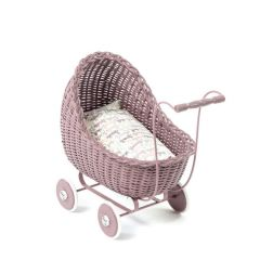 Dolls Wicker Stroller Dark Rose