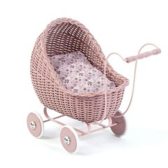 Dolls Wicker Stroller Powder Pink