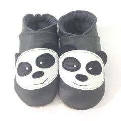 Panda Grey - Soft Leather Shoes 6-12mths