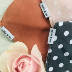 Triple Pack Bandana Bibs - Spots and Hearts with Rust