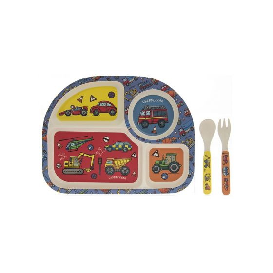 Bamboo Eco Compartment Eating Set - Vehicles