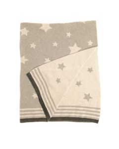 Baby Blanket in Grey Stars for Cot and Pram