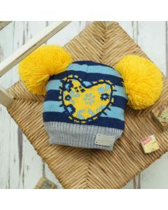 Floral Heart Double Bobble Hat