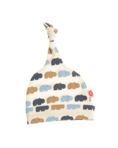Knotted Hat - Blue and Beige Hippos