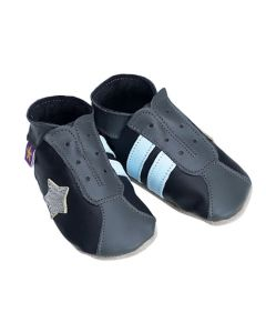 Retro Trainers Black & Grey Soft Leather Shoes 6-12mths