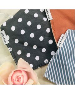 Triple Pack Bandana Bibs - Spots and Stripes with Rust