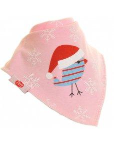 Individual Bandana Dribble Bib - Pink Robbin with Hat